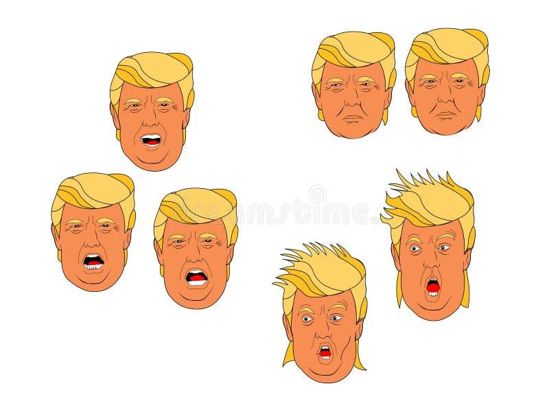 Donald Trump Cartoon expressions. Set of Donald Trump Cartoon expressions royalty free illustration
