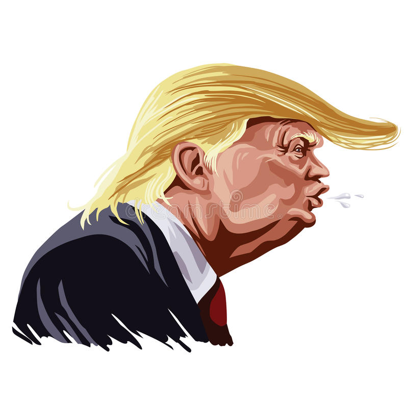 Donald Trump Caricature Shouting stock illustration