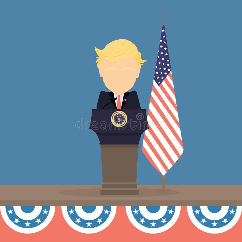 Donald Trump com bandeira americana ilustração do vetor