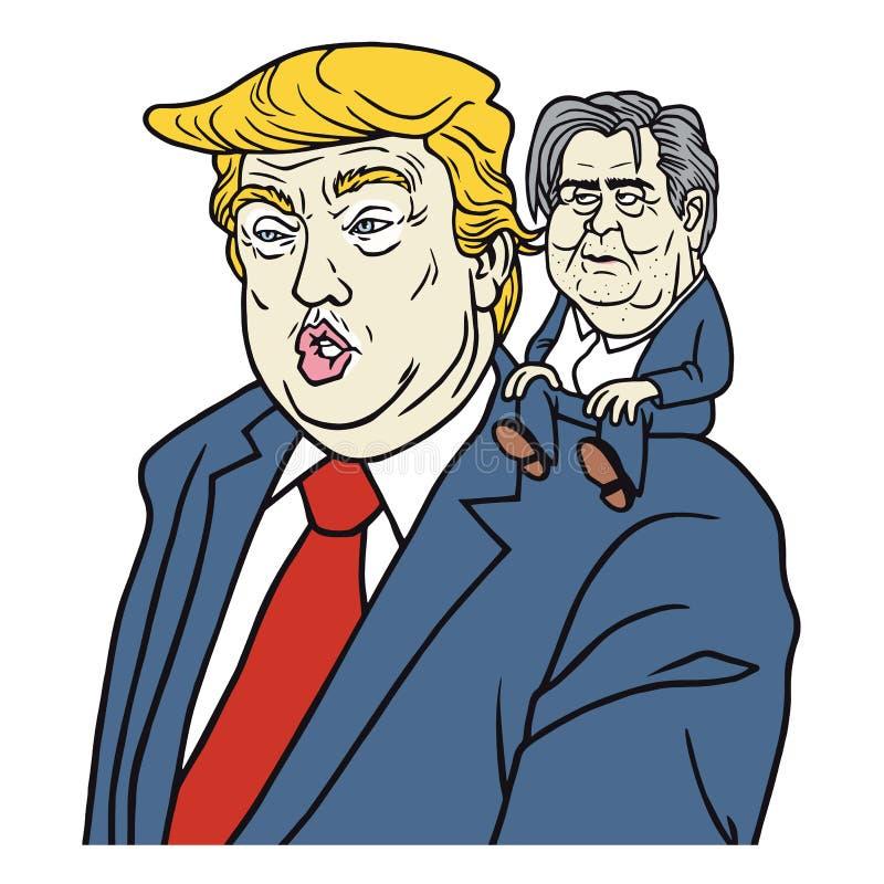 Donald Trump com caricatura de Steve Bannon Cartoon Vetora Portrait ilustração stock