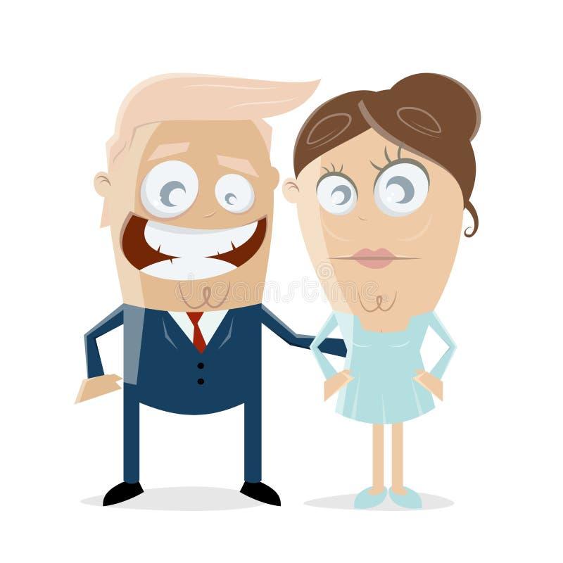 Donald Trump com seu clipart da esposa ilustração do vetor
