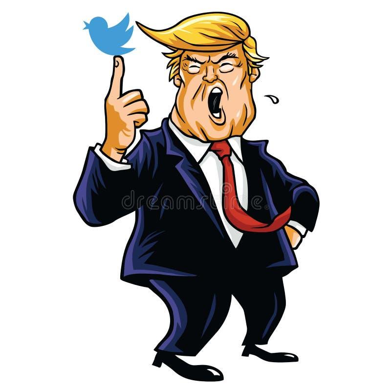 Donald Trump com seu pássaro azul Ilustração do vetor dos desenhos animados 15 de junho de 2017 ilustração stock