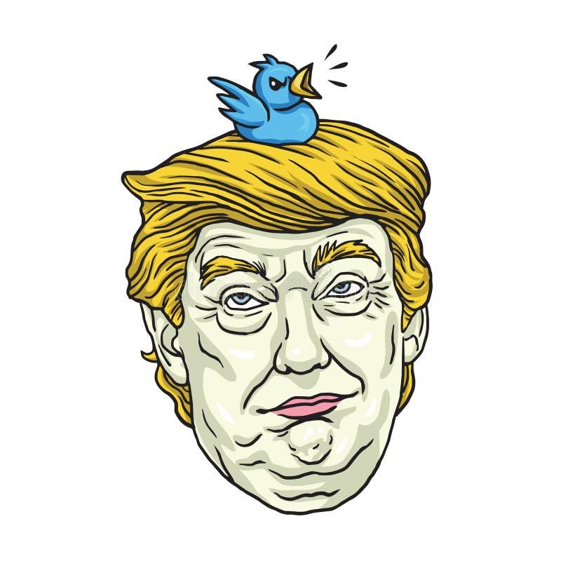 Donald Trump com seu pássaro do animal de estimação Vetor da ilustração do retrato da caricatura dos desenhos animados 1º de nove ilustração stock