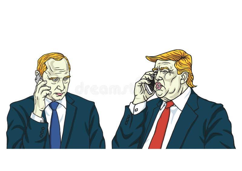 Donald Trump com Vladimir Putin no telefone Ilustração do vetor da caricatura dos desenhos animados 14 de agosto de 2017 ilustração stock