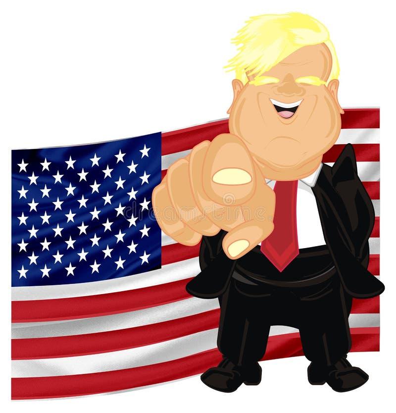 Donald Trump con gesto y la bandera stock de ilustración