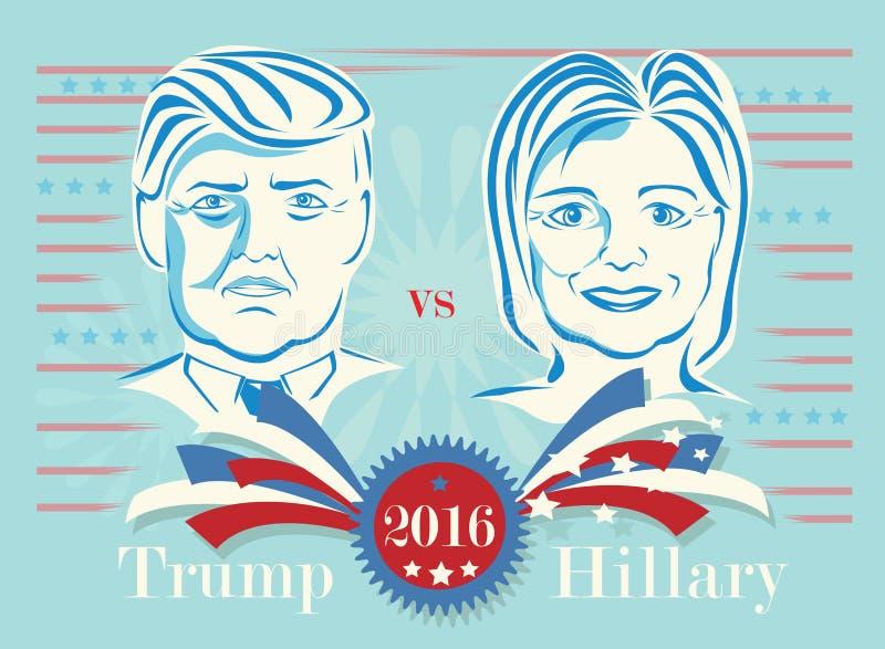 Donald Trump contra Hillary Clinton ilustração royalty free