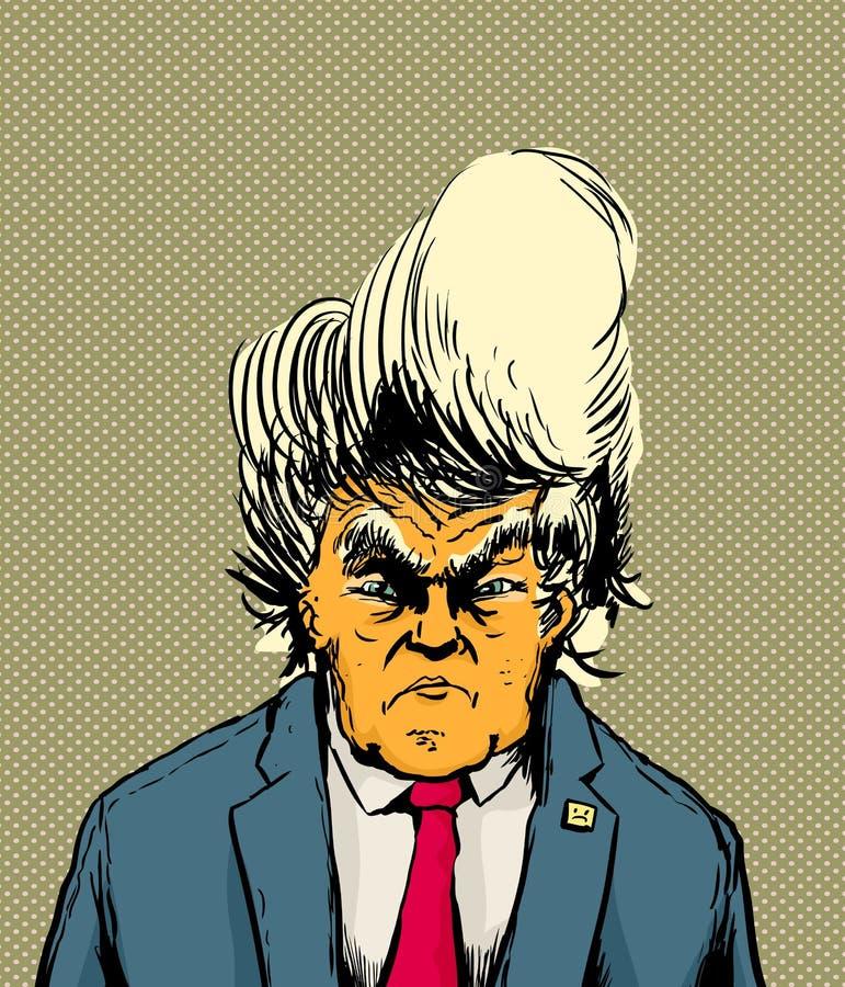 Donald Trump descascado laranja olhando de sobrancelhas franzidas ilustração do vetor