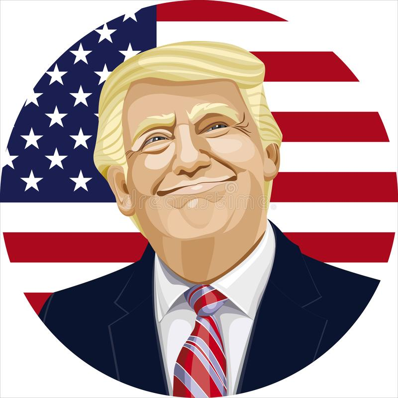 Donald Trump. The President of the United States of America.A businessman and political figure. vector image. American flag background stock illustration