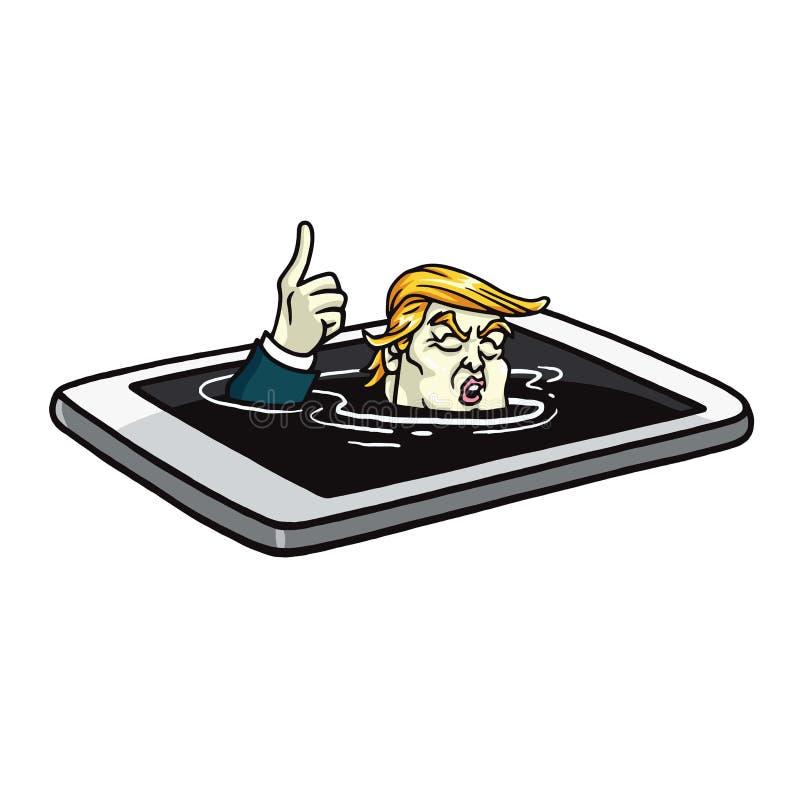 Donald Trump Drowning en teléfono móvil Vector del ejemplo de la historieta 18 de julio de 2017 ilustración del vector
