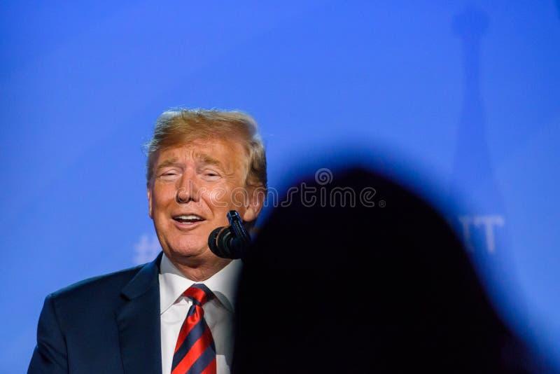 Donald Trump, durante a confer?ncia de imprensa imagem de stock