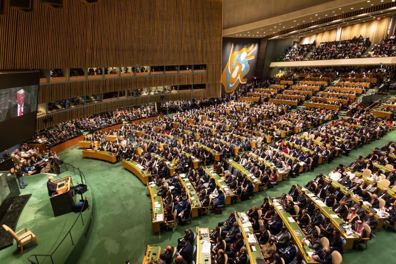 Donald Trump durante a 73th sessão do conjunto do UN foto de stock
