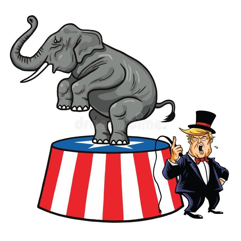 Donald Trump e elefante republicano Desenhos animados, vetor da caricatura ilustração stock