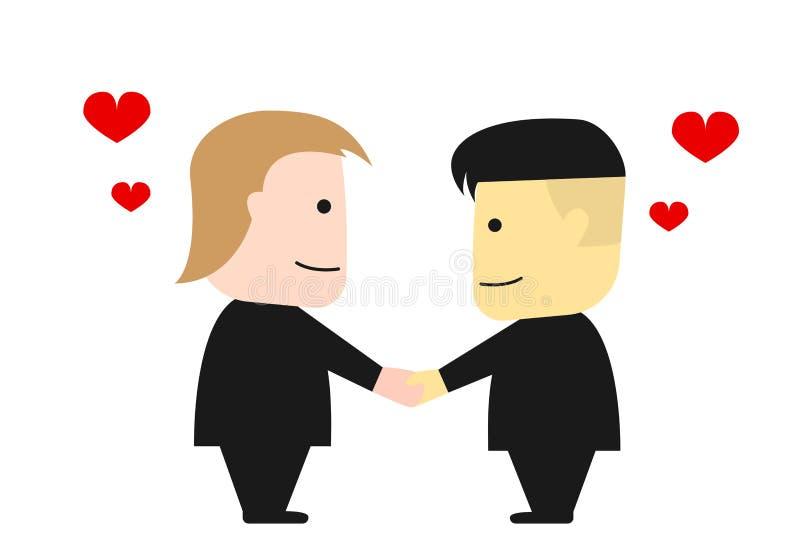Donald Trump e Kim Jong Un agitam as mãos, vetor ilustração stock
