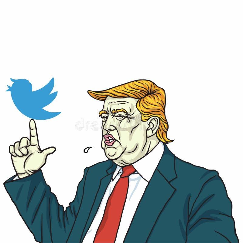 Donald Trump e Media Communication social Desenhos animados do vetor 10 de junho de 2017 ilustração royalty free