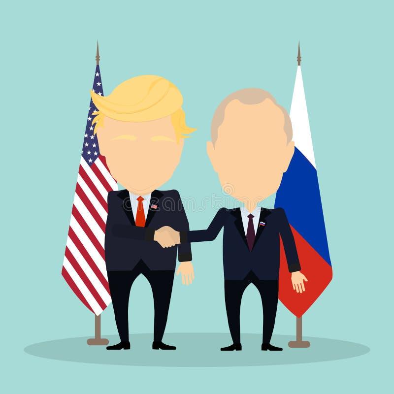 Donald Trump e Vladimir Putin ilustração royalty free