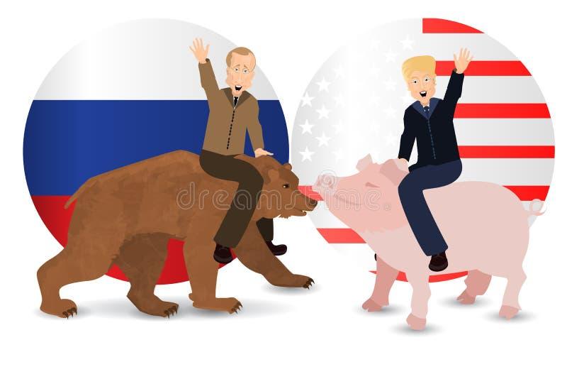 Donald Trump e Vladimir Putin estão montando ilustração royalty free