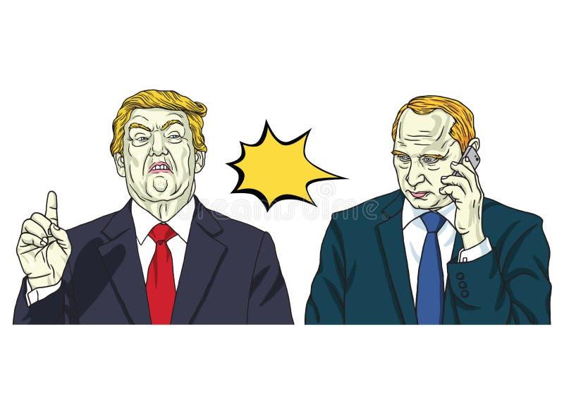 Donald Trump e Vladimir Putin Ilustração do retrato do vetor 15 de outubro de 2017 ilustração do vetor