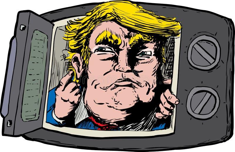 Donald Trump em um forno micro-ondas ilustração stock