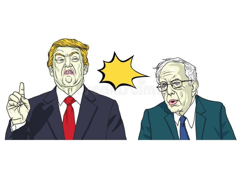 Donald Trump en Bernie Sanders Vector de Karikatuurillustratie van het Portretbeeldverhaal 11 oktober, 2017 royalty-vrije illustratie