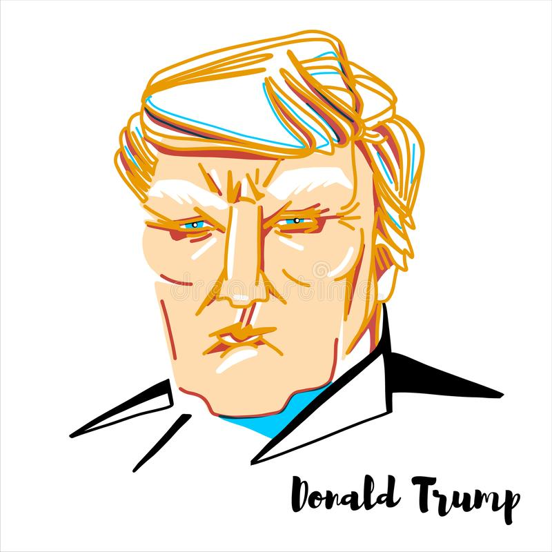 Donald Trump Portrait. Donald Trump engraved vector portrait with ink contours. The 45th and current president of the United States stock illustration