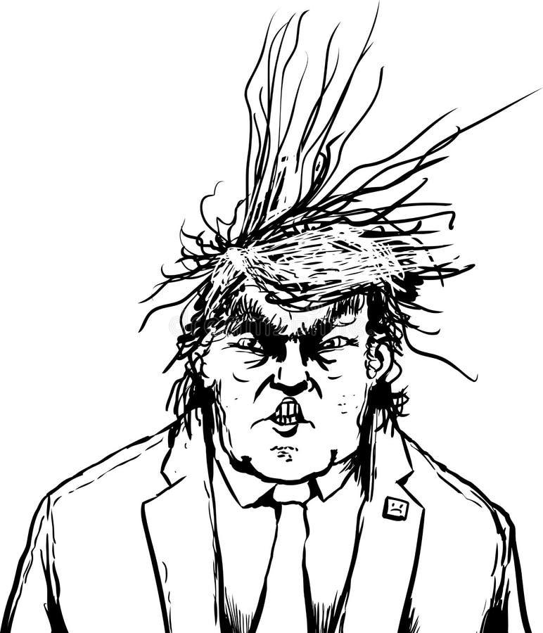 Donald Trump esboçado com cabelo Frazzled ilustração stock