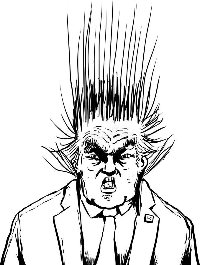 Donald Trump esboçado com o cabelo que voa para cima ilustração stock