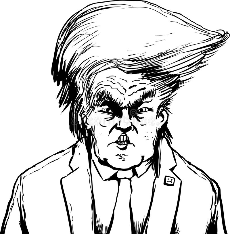Donald Trump esboçado no penteado Bouffant ilustração stock