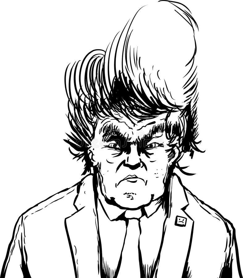 Donald Trump esboçado no penteado foleiro ilustração do vetor