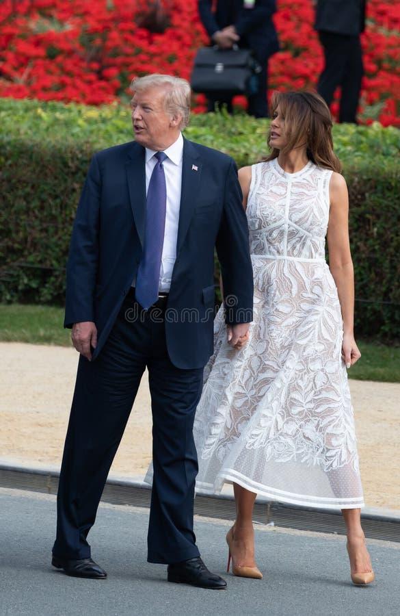 Donald Trump et Melania Trump au sommet d'OTAN image stock