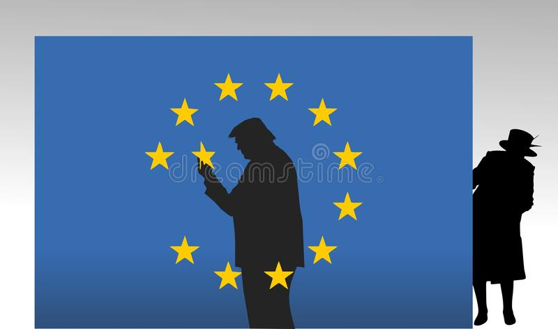 Donald Trump in Europe. stock illustration