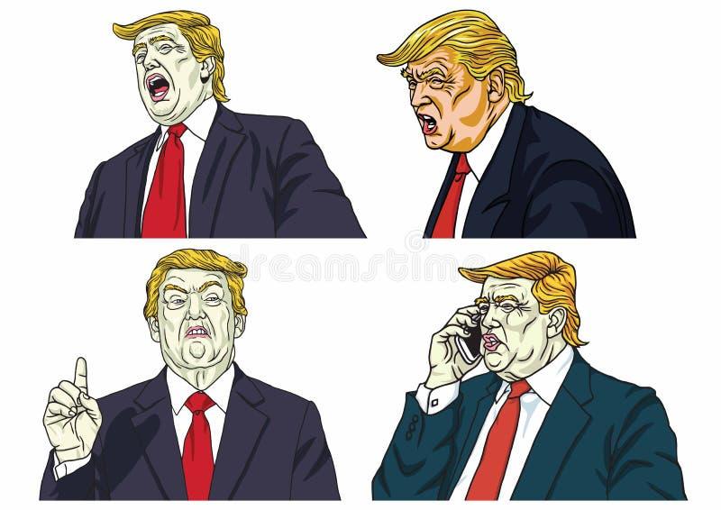 Donald Trump Expressions Set Vector Cartoon Caricature Drawing. Washington, February 16, 2019 vector illustration