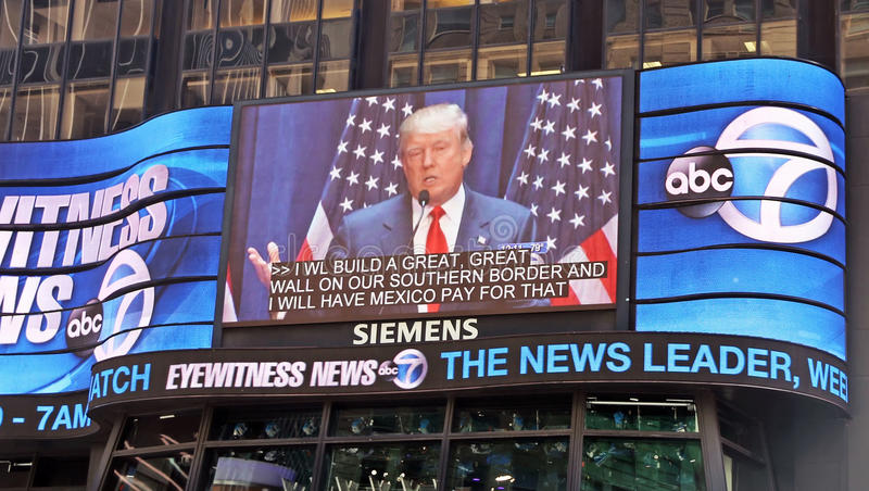 Donald Trump On Eyewitness News. Donald Trump appears on Eyewitness News at the ABC Times Square Studio in Manhattan,NY royalty free stock image