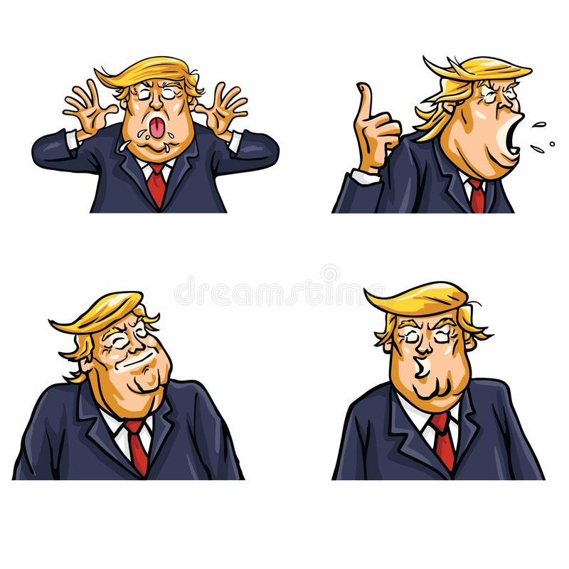 Donald Trump Face Expressions Set Pack. Vector Illustration royalty free illustration
