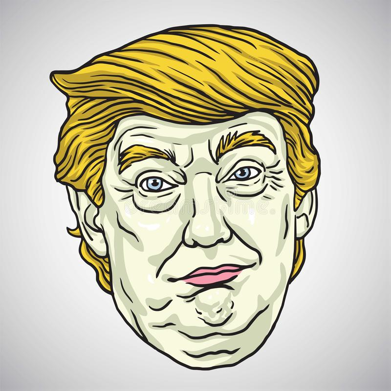 Donald Trump Face missbelåten illustration för pojketecknad film little vektor Oktober 30, 2017