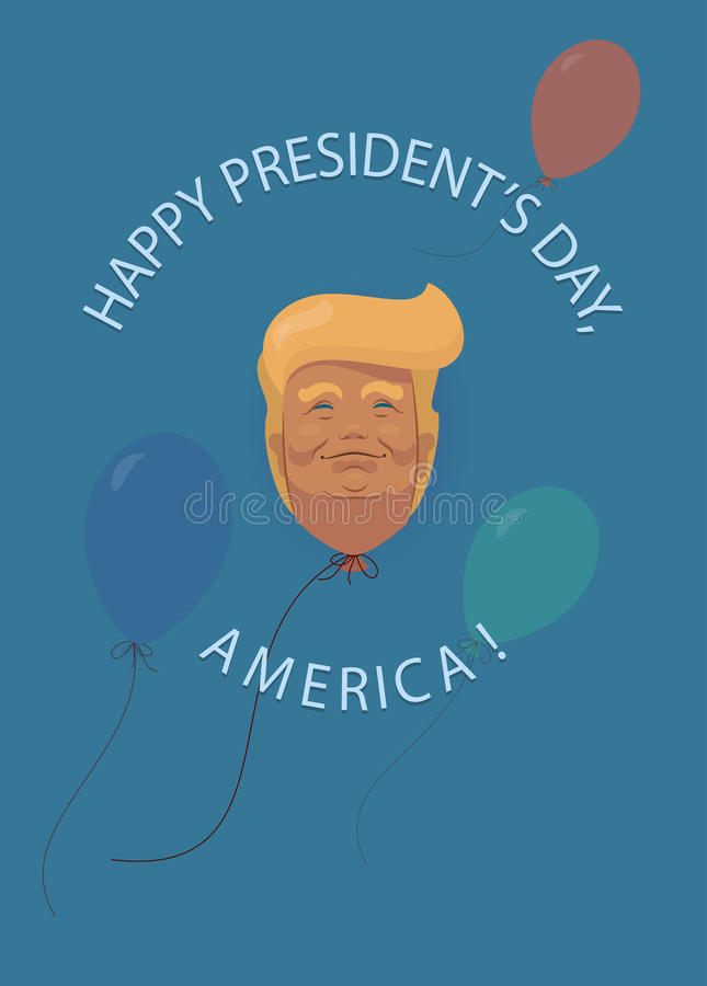 Donald Trump flat cartoon, Presidents` Day in USA also and President`s Washington` Birthday greetings card Background stock illustration