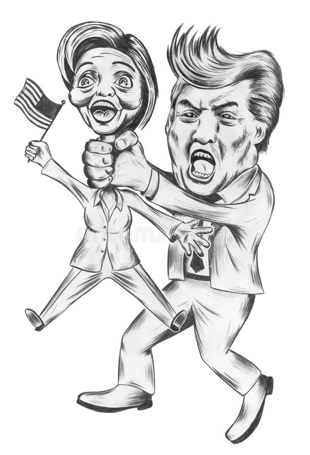 Donald Trump gegen Hillary Clinton lizenzfreie abbildung