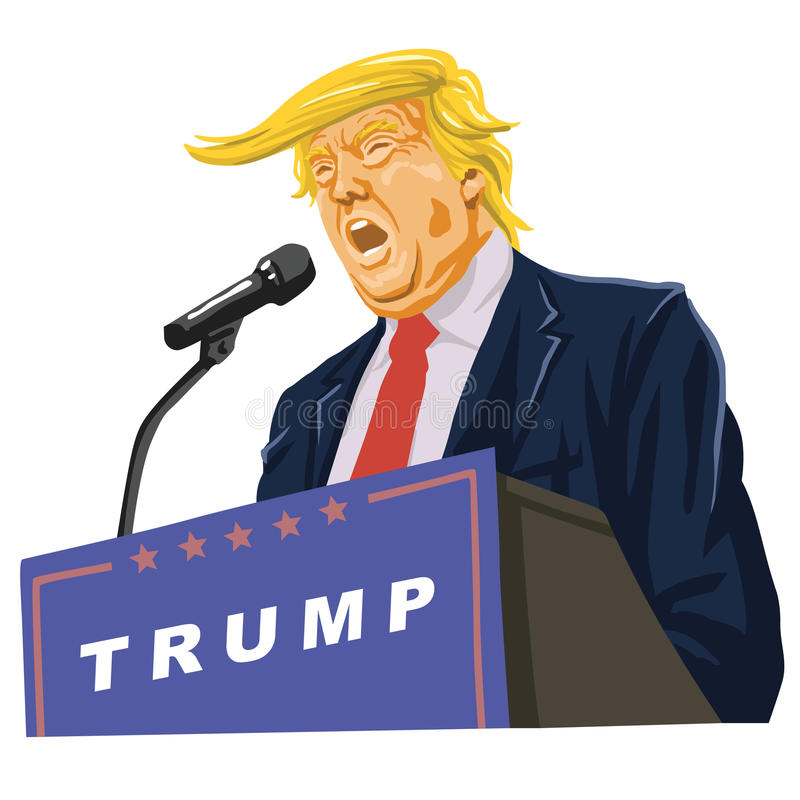 Donald Trump Giving A Speech stock illustration