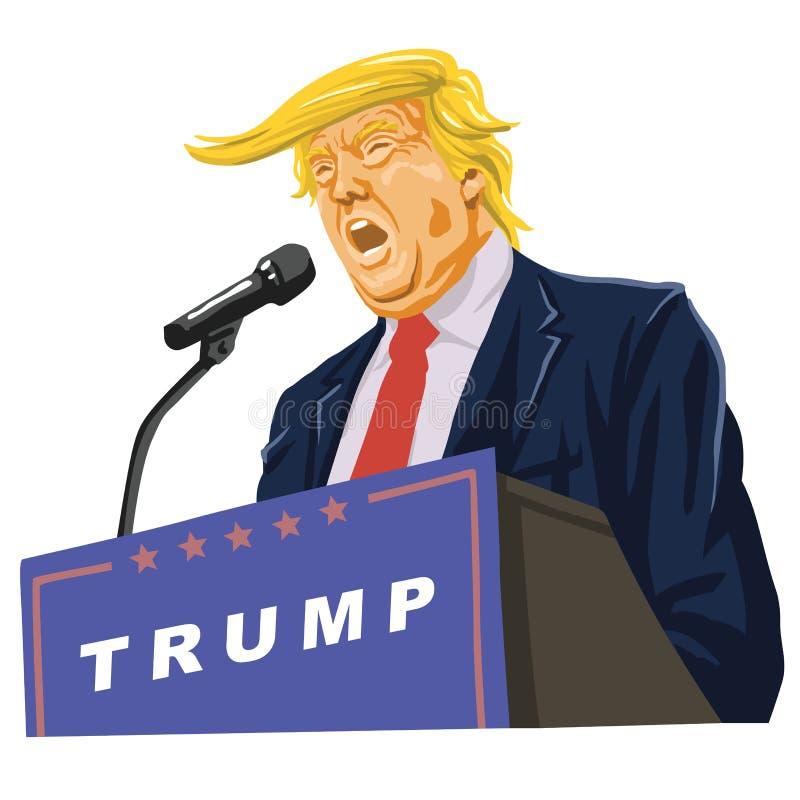 Donald Trump Giving um discurso ilustração stock