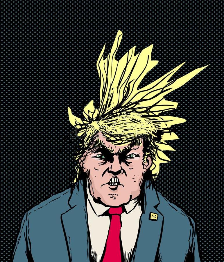 Donald Trump Hairdo Blowing Diagonally ilustração do vetor