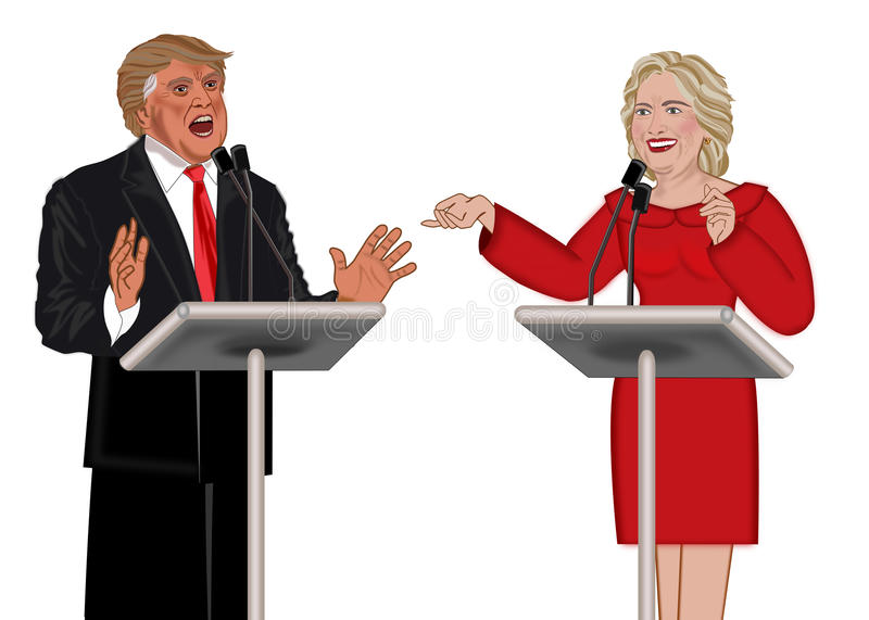 Donald Trump. And Hillary Clinton election illustration isolated