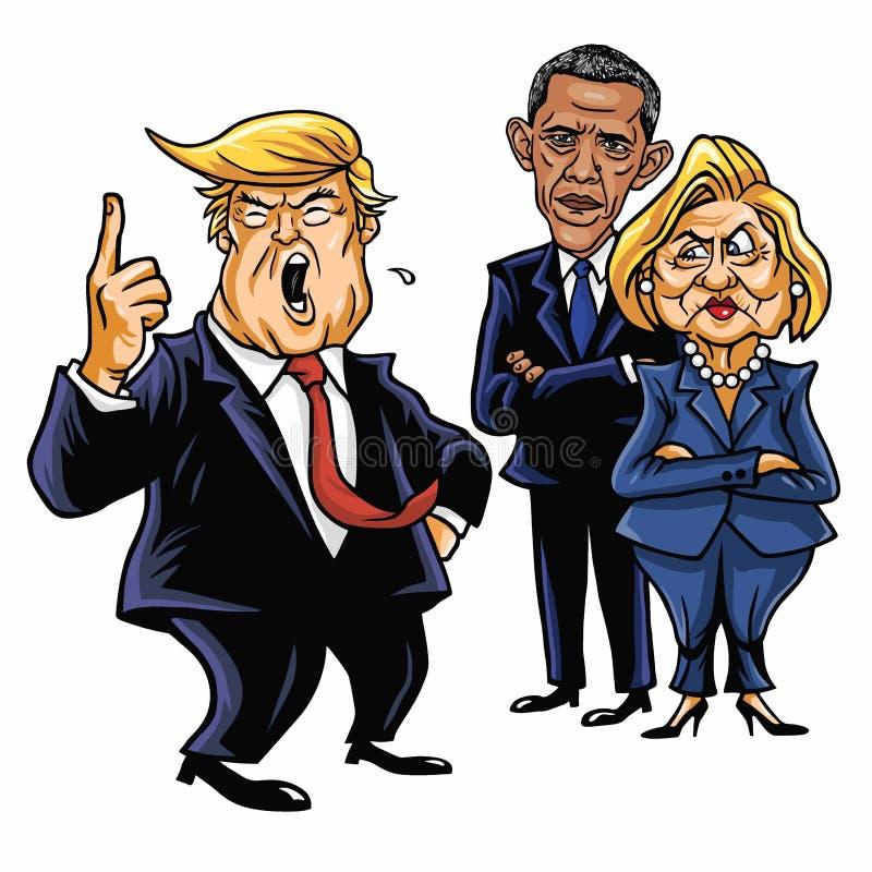 Donald Trump, Hillary Clinton, en Barack Obama De Vectorillustratie van de beeldverhaalkarikatuur 29 juni, 2017 vector illustratie