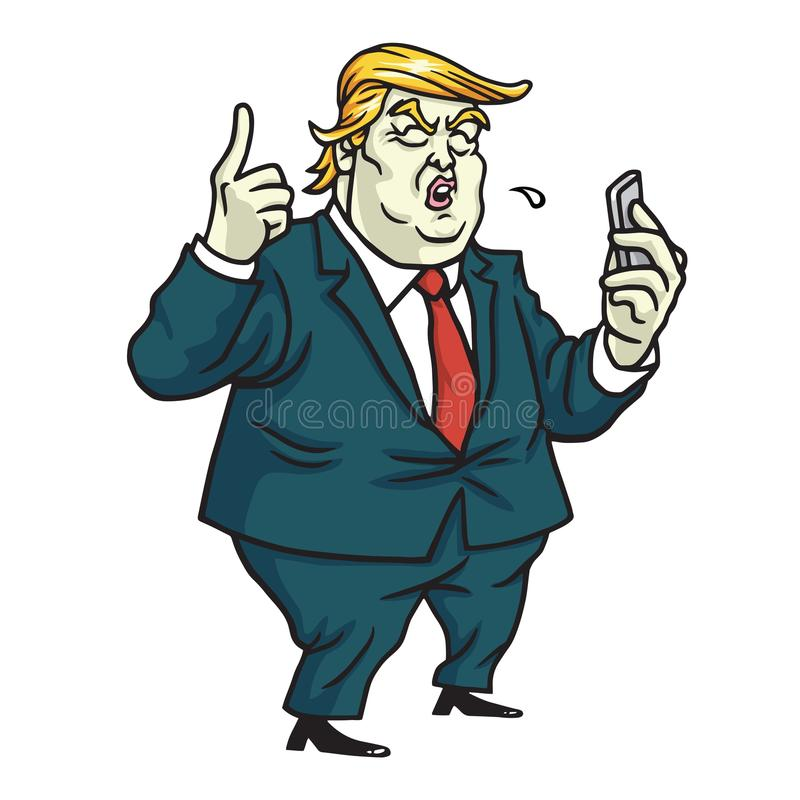 Donald Trump with His Mobile Phone Feeds Update. Cartoon Vector. June 12, 2017. Donald Trump with His Mobile Phone Feeds Update. Cartoon Vector Drawing. June 12 stock illustration