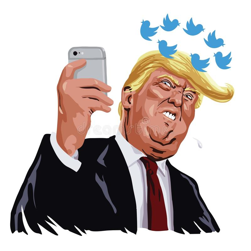 Donald Trump With His Social-Media Updates Beeldverhaal Vectorkarikatuur 13 juni, 2017 stock illustratie