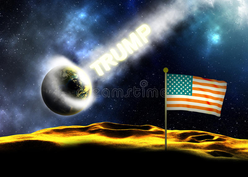 Donald Trump Hitting The Earth. USA 2016 presidential election concept. The word Trump smashing onto Earth royalty free illustration