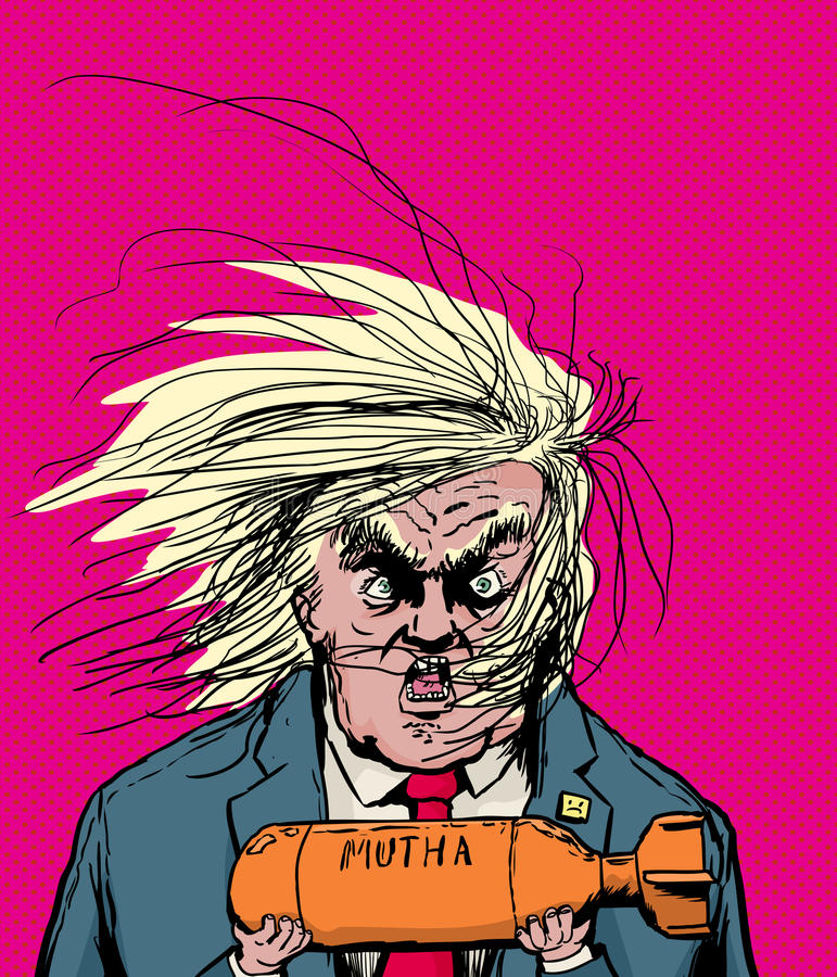 Donald Trump Holding Orange Bomb ilustração do vetor