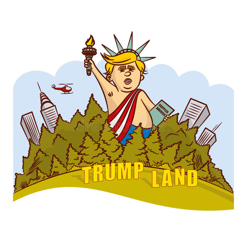 Donald Trump Image Statue of Liberty stock illustration
