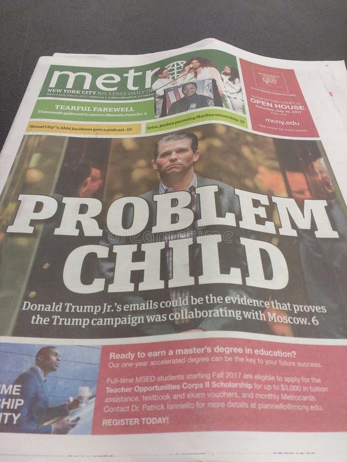 Donald Trump Junior Newspaper Headline, connivence russe photographie stock libre de droits