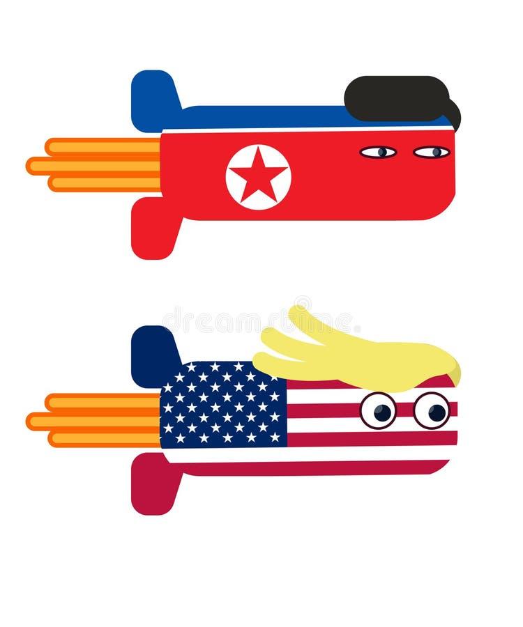 Donald Trump Kim jong Bomb.  stock illustration