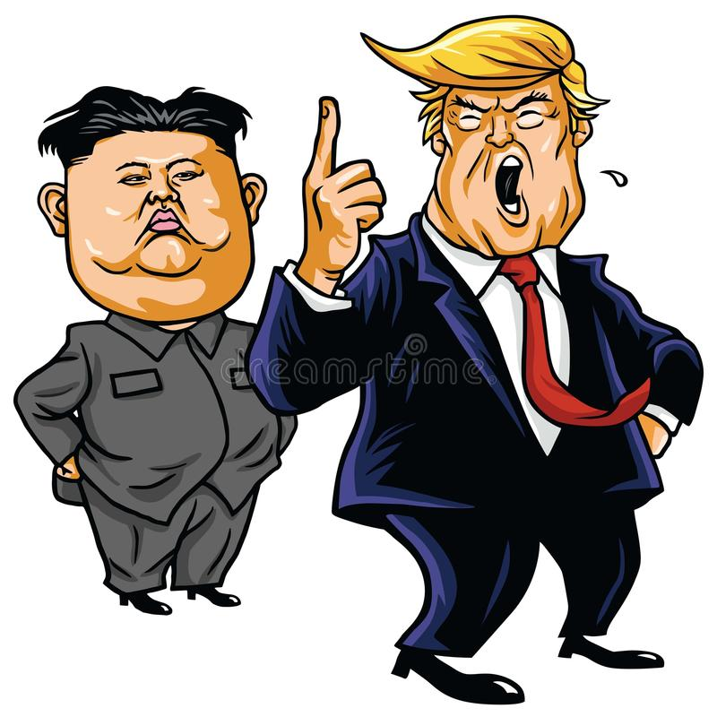 Donald Trump with Kim Jong-un Cartoon Vector. April 26, 2017 royalty free stock photos