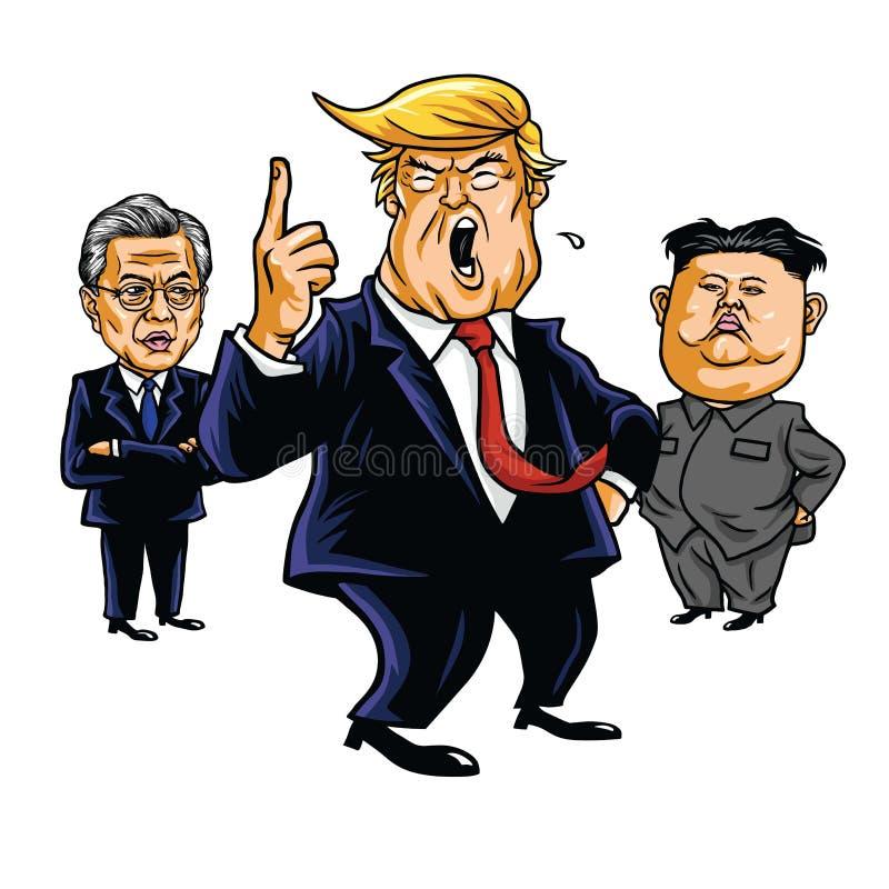 Donald Trump, Kim Jong-un, Moon Jae-in. Cartoon Vector Illustration. September 23, 2017. Donald Trump, Kim Jong-un, Moon Jae-in. Cartoon Vector Illustration royalty free illustration